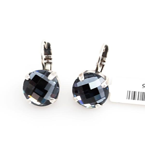 Indian Sapphire Checkerboard Cut 11MM Crystal Earrings