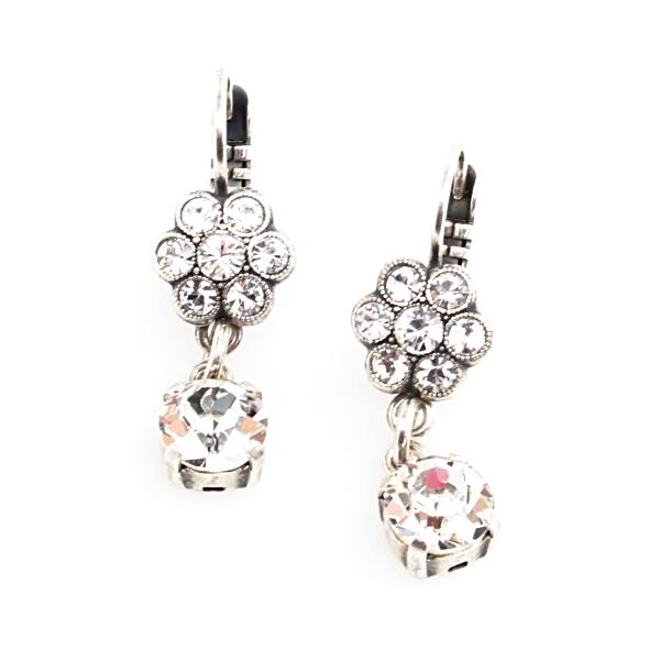 On a Clear Day Collection Small Flower Earrings with Crystal Drop