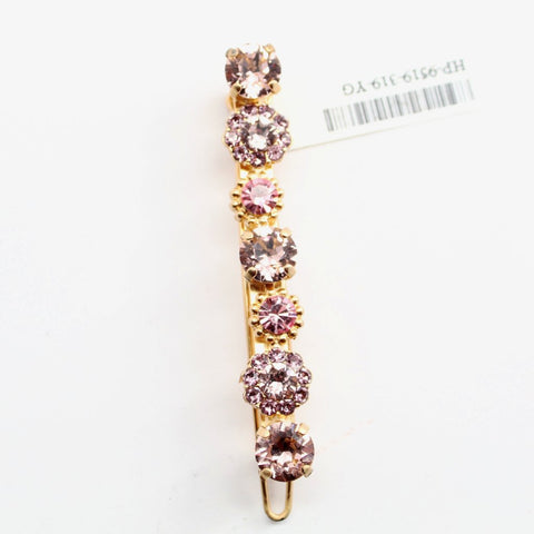 Pink Flamingo Collection Crystal Barrette in Yellow Gold