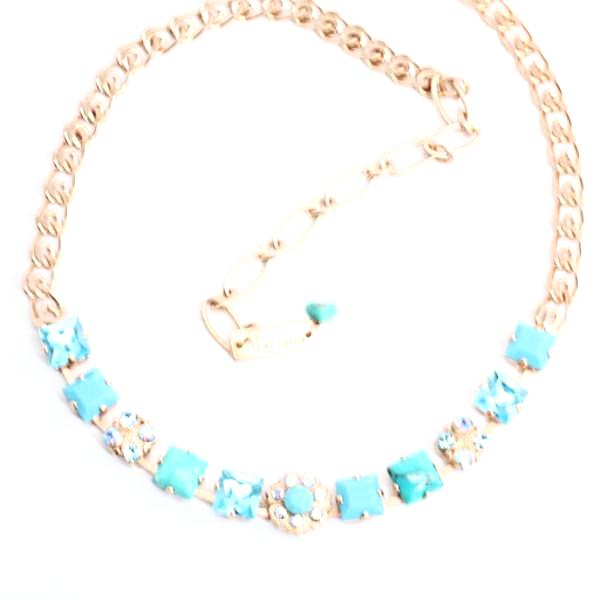 Bliss Collection Square Crystal Necklace in Rose Gold