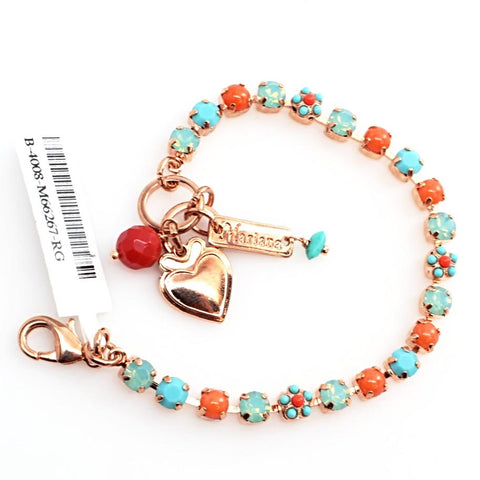 Turquoise and Coral Petite Crystal Flower Bracelet in Rose Gold
