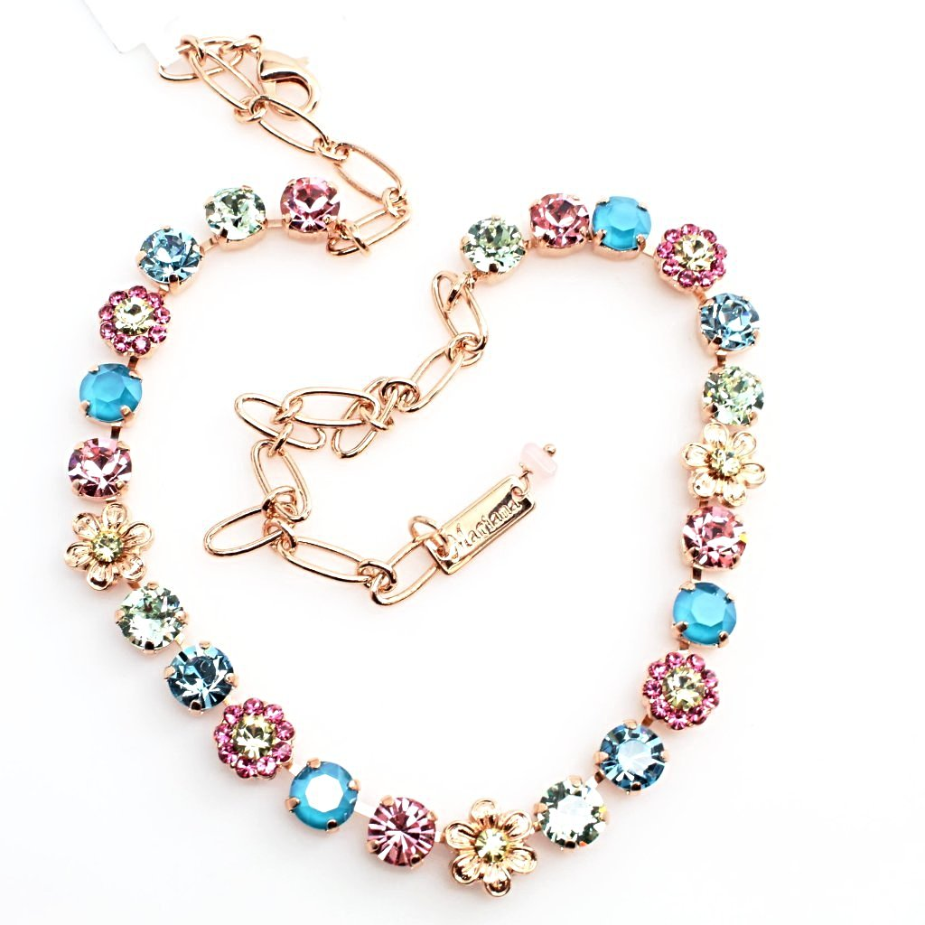 Spring Flowers Ornate Crystal Necklace in Rose Gold