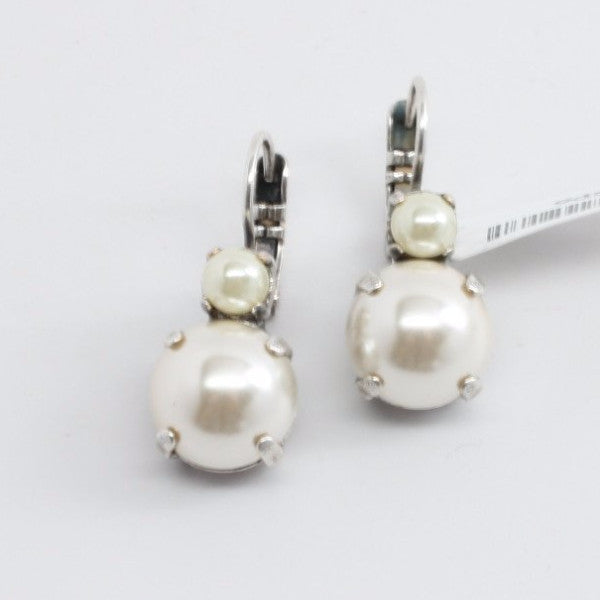 Pearl Large Double Crystal Earrings