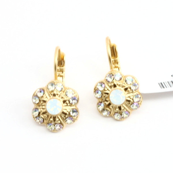 Tequila Sunrise Crystal Flower Earrings in Yellow Gold