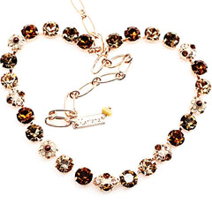 Aphrodite Collection Medium Ornate Crystal Necklace in Rose Gold