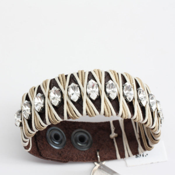 LaHola Brown Leather with Clear Marquise Crystals Bracelet