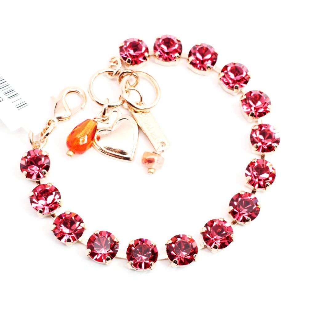 Indian Pink Medium Crystal Bracelet in Rose Gold