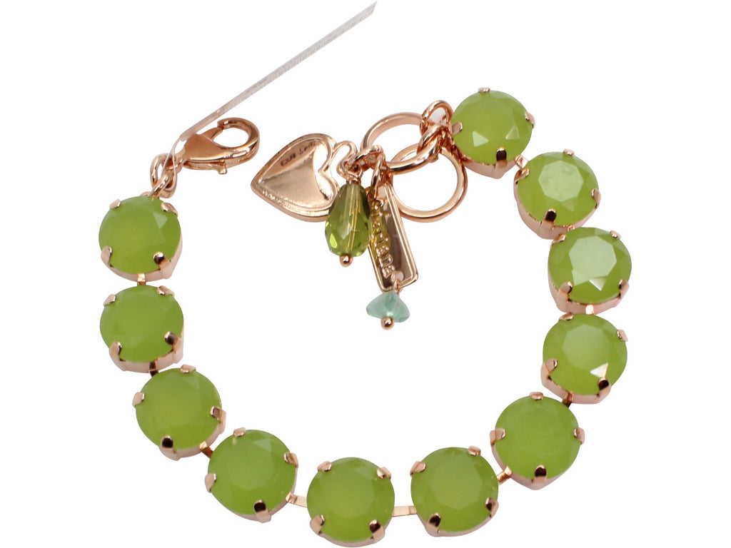 Lime Green Crystal Bracelet in Rose Gold