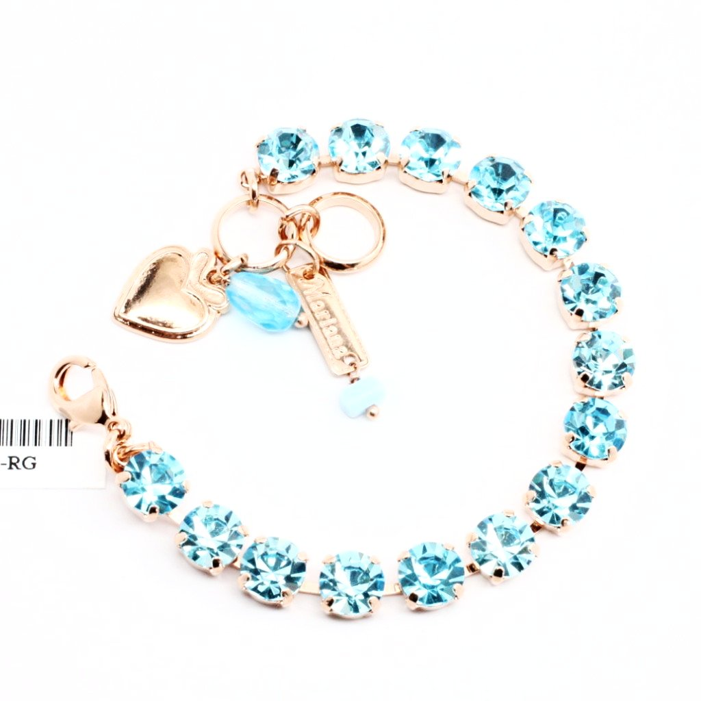 Aquamarine Medium Crystal Bracelet in Rose Gold