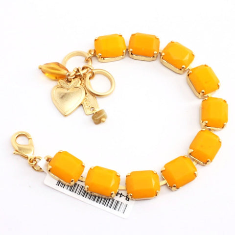 Yellow Rectangular Crystal Bracelet in Yellow Gold