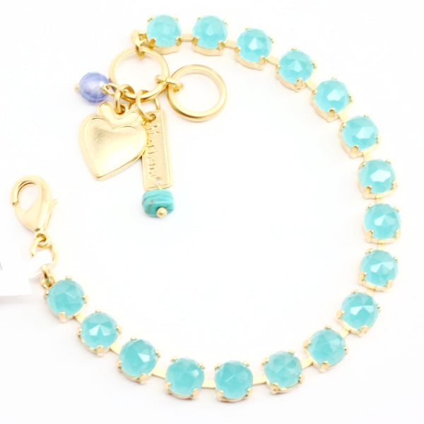 Caribbean Blue Quartz Crystal Bracelet in Yellow Gold