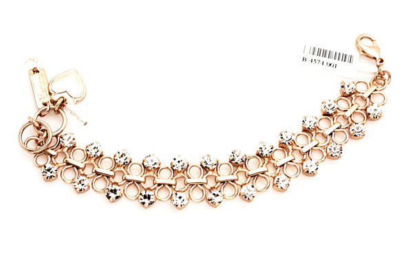 Clear Loop and Crystal Bracelet in Matte Rose Gold