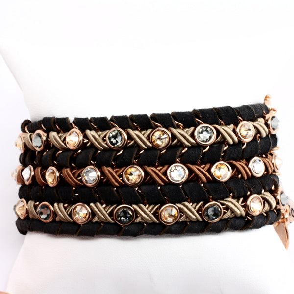 LaHola Brown Leather with Round Crystal Accents Bracelet