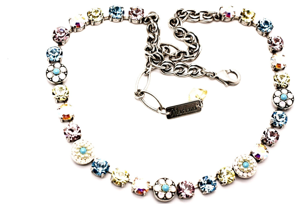 Coco Collection Small Ornate Crystal Necklace Plated in Silver