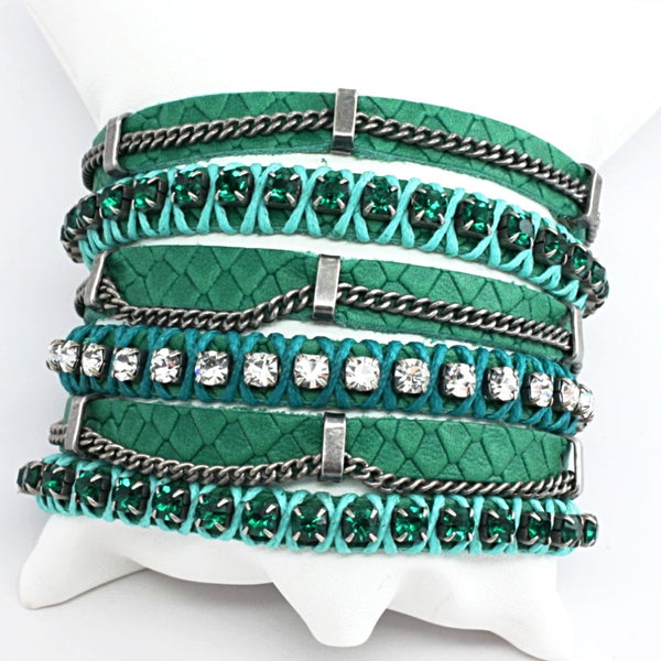 LaHola Wide Green Leather with 3 Rows of Crystals Bracelet