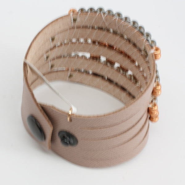 LaHola Wide Light Tan Leather with Pink Opal Bracelet