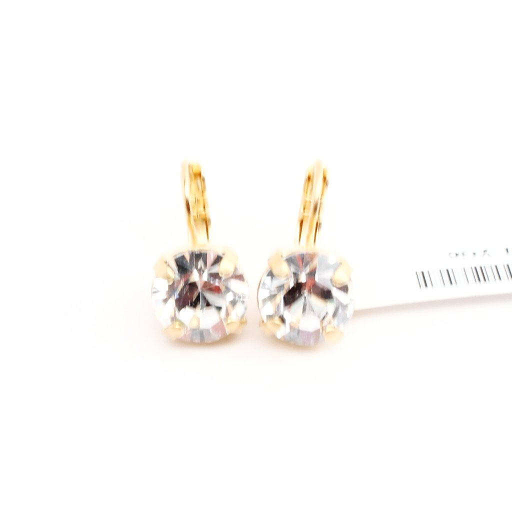 Clear Crystal Earrings in Yellow Gold 11MM