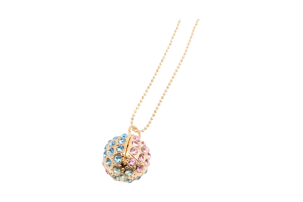Spring Flowers Sphere Pendant Necklace in Gold