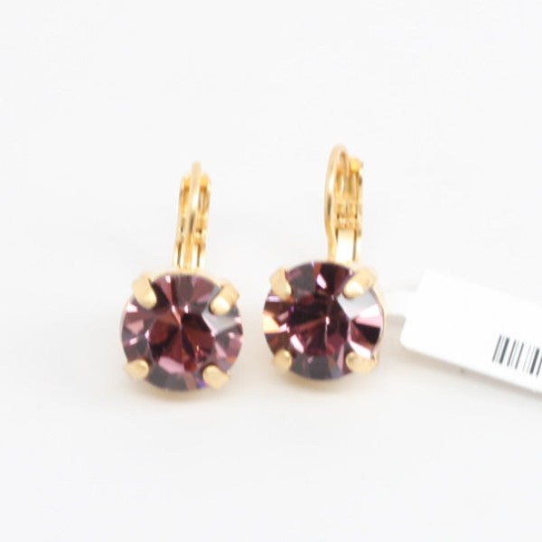 Light Amethyst Crystal Earrings in Yellow Gold