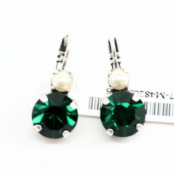 Emerald and Pearl Large Double Crystal Earrings