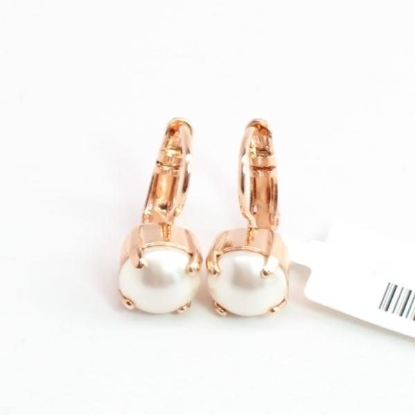 Pearl 8.5MM Earrings in Rose Gold