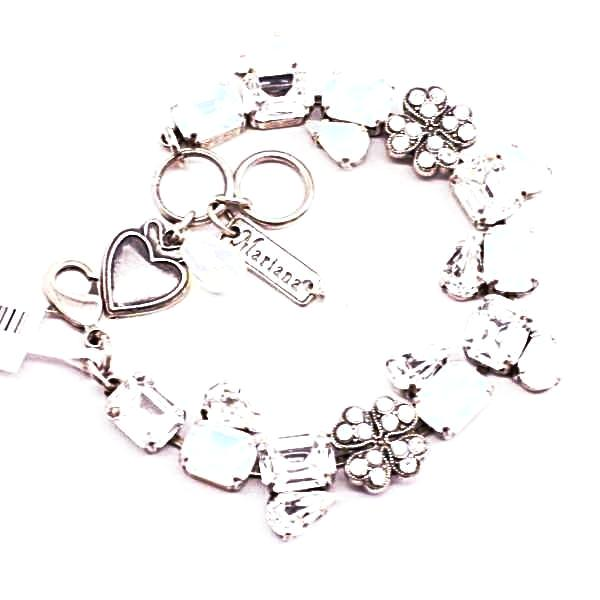 Forever Collection Rectangular and Flower Crystal Bracelet