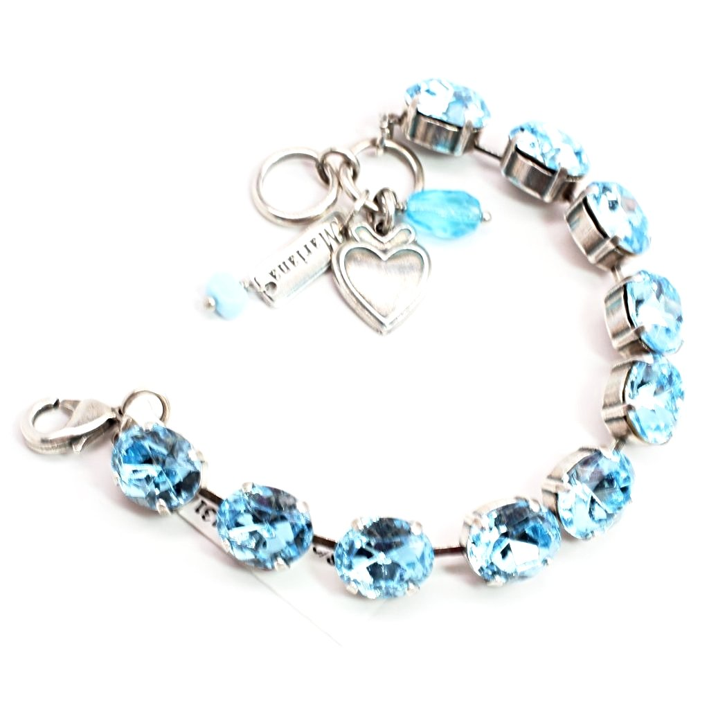 Aquamarine Large Oval Crystal Bracelet