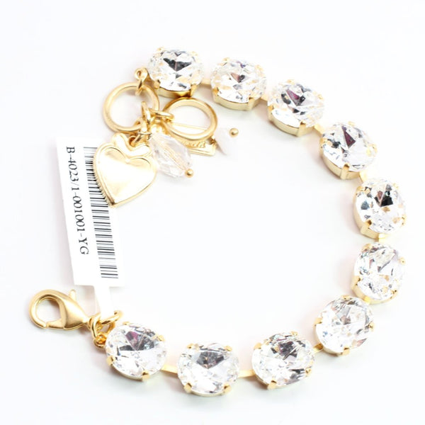 Clear Large Oval Crystal Bracelet in Yellow Gold