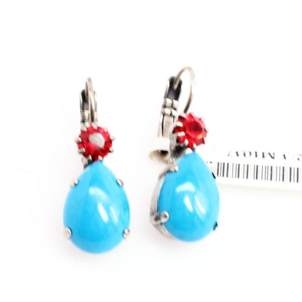 Fantasy Collection Pear Shaped Earrings w/ Red Accent Crystal