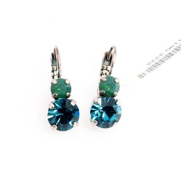 Julia Caribbean Blue and Green Medium Double Crystal Earrings