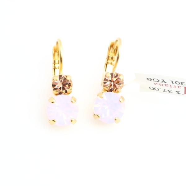 Afternoon Delight Medium Double Crystal Earrings in Yellow Gold