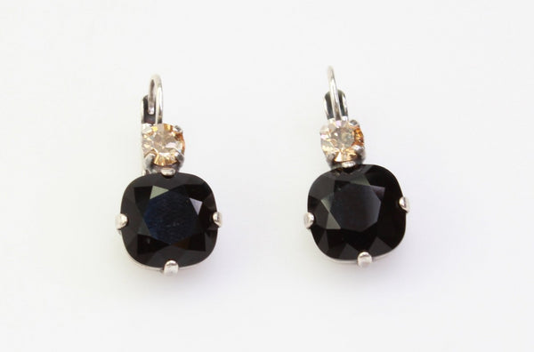 Adeline Collection 12MM Square Double Crystal Earrings