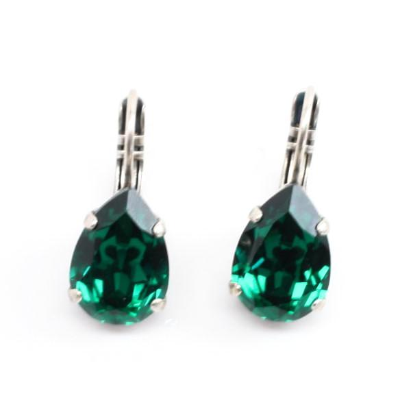 Emerald Green Pear Shaped Crystal Earrings