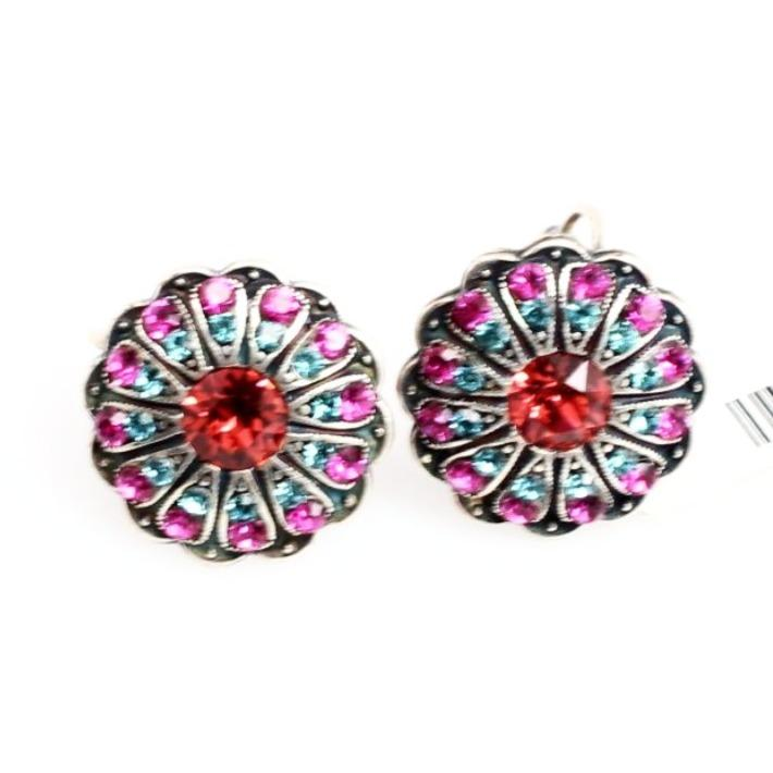 Sorbet Ornate Round Crystal Earrings