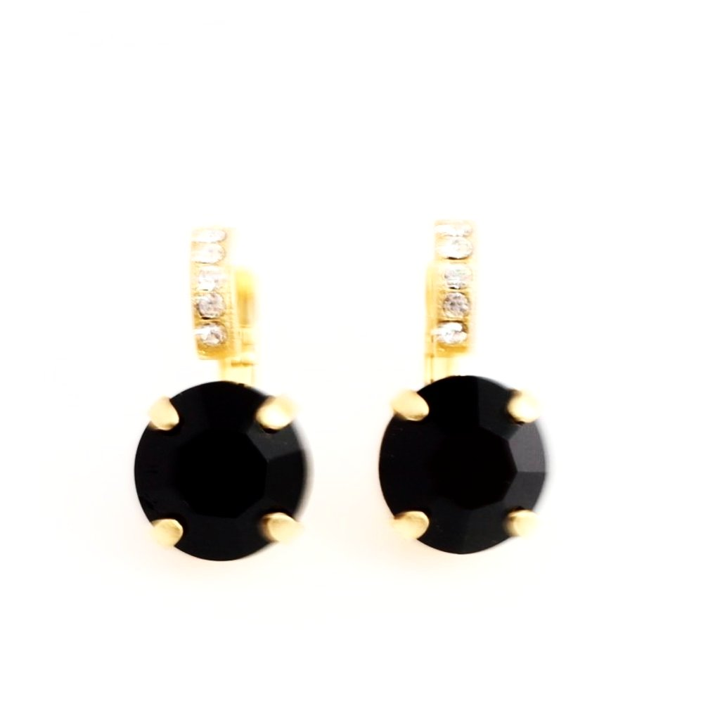 Checkmate Crystal Earrings with Embellished Lever in Yellow Gold