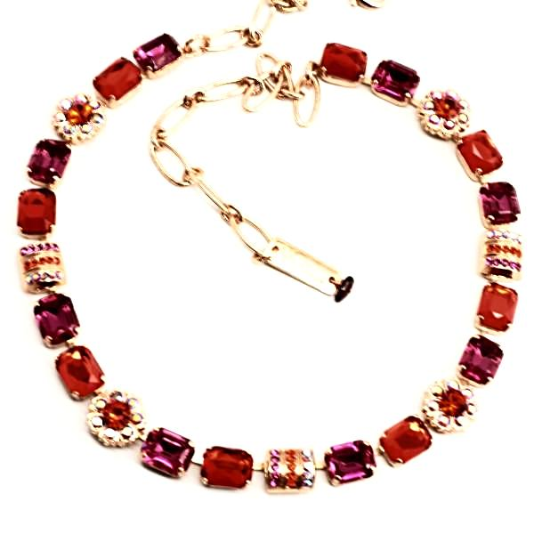 Lady Marmalade Rectangular Crystal Necklace in Rose Gold