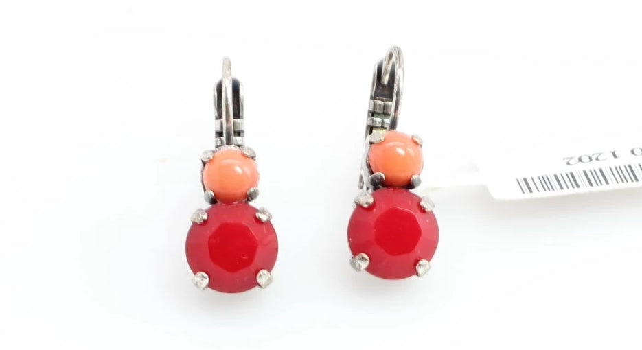 Flame Collection Double Crystal Earrings in Silver