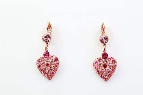 Saba Collection Heart Shaped Earrings in Rose Gold