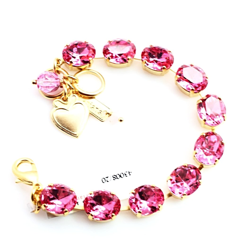Rose Large Oval Crystal Bracelet in Yellow Gold