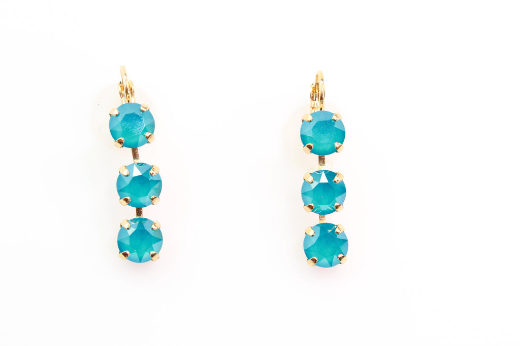 Azure Blue Opal Triple Crystal Earrings in Yellow Gold