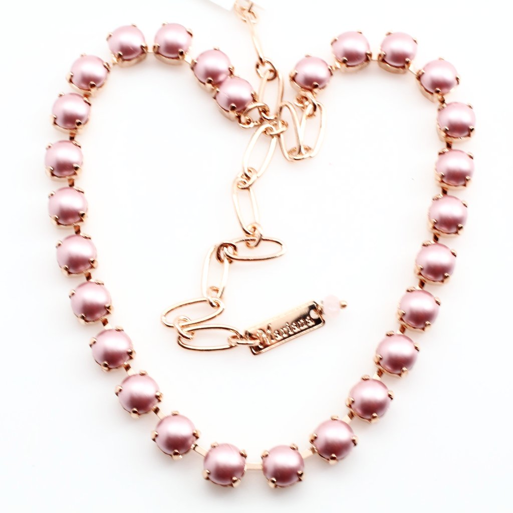 Pink Pearl Medium Crystal Necklace in Rose Gold