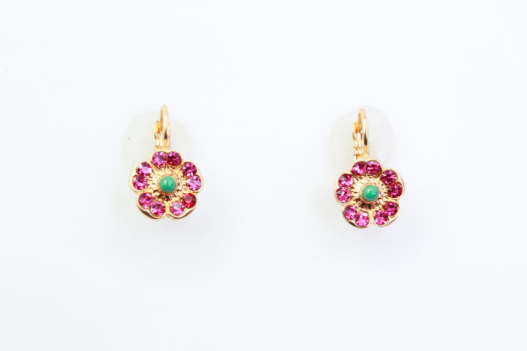 Masi Collection Flower Crystal Earrings in Yellow Gold