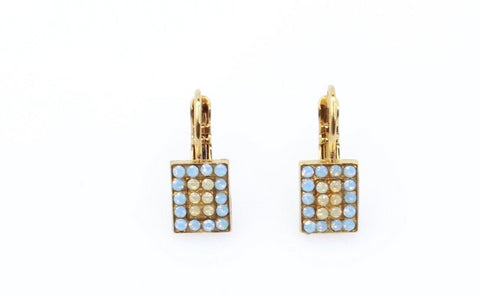 Rhapsode Collection Rectangular Crystal Earrings in English Gold