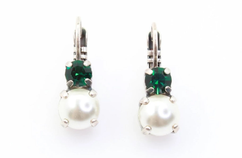 Pearl and Emerald Double Crystal Earrings in Silver