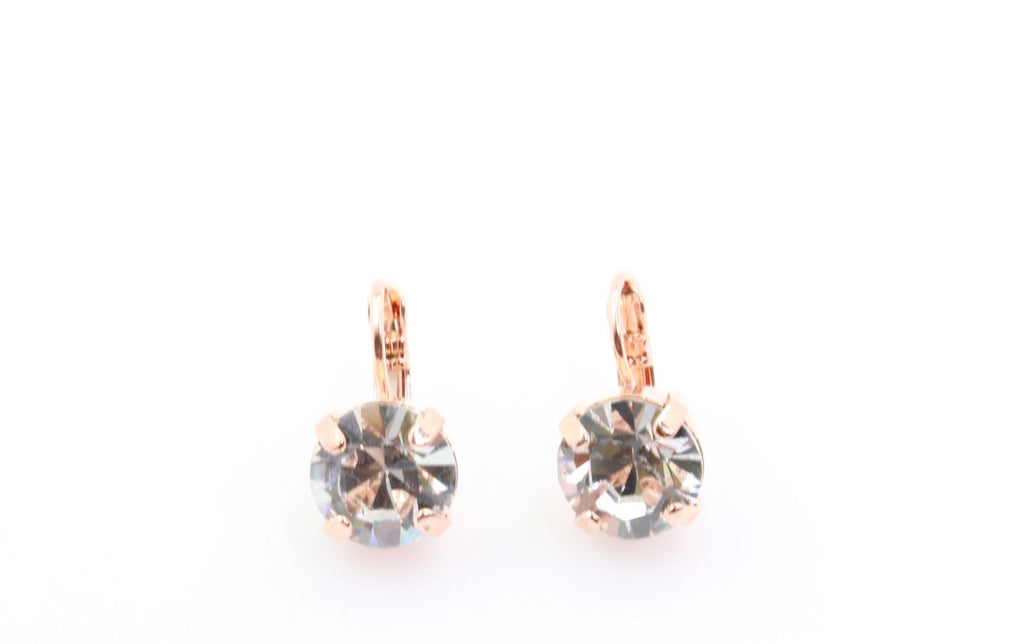 Clear Crystal 11 MM Earrings in Rose Gold