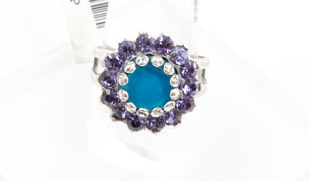 Peacock Collection Round Crystal Ring in Silver