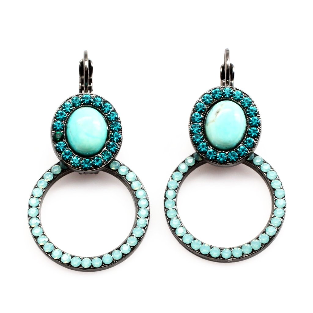 Bahamas Oval and Circle Earrings in Black Gold