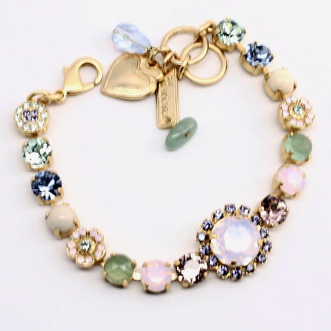 California Dreaming Round Center Crystal Bracelet in Yellow Gold - Mary's Mariana