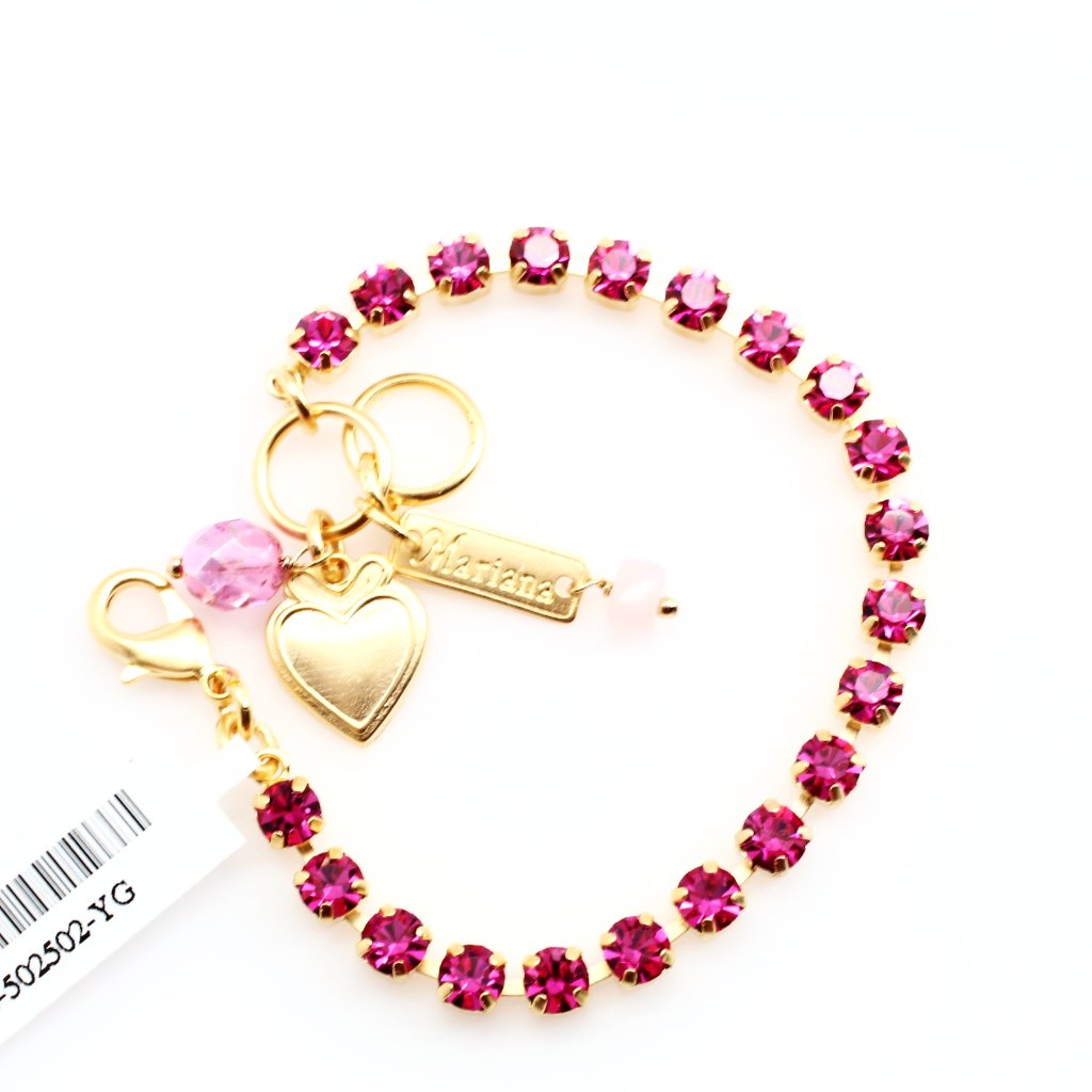 Fuchsia Petite Crystal Bracelet in Yellow Gold