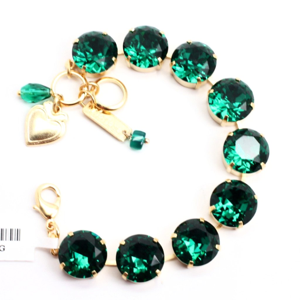 Emerald Green Extra Large Crystal Bracelet in Yellow Gold